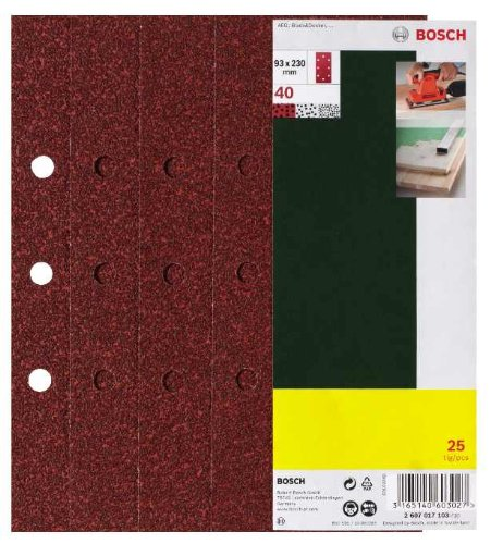 Bosch 25-teiliges Schleifblatt-Set für Schwingschleifer, 93 x 230 mm, 8 Löcher, Körnung 80, 2607017099