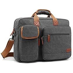 CoolBELL 17,3 Zoll Laptop Aktentasche schützend Messenger Bag Umhängetasche Nylon Business Briefcase Notebook Schultertasche Multifunktional Henkeltasche Laptop / Ultrabook / Tablet / Macbook / Dell / HP, Canvas Dunkel Grau