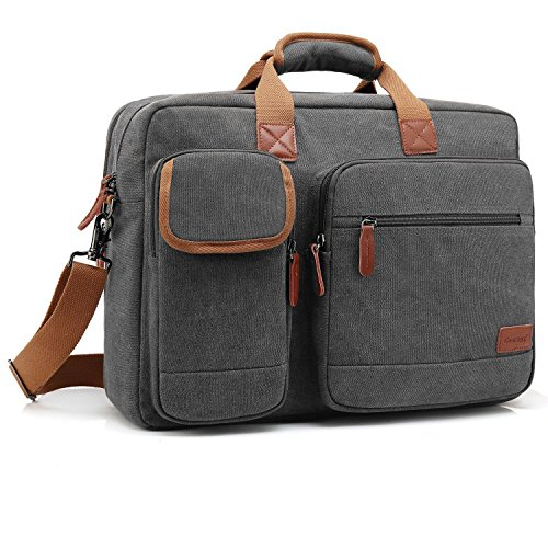CoolBELL 17,3 Zoll Laptop Aktentasche schützend Messenger Bag Umhängetasche Nylon Business Briefcase Notebook Schultertasche Multifunktional Henkeltasche Laptop / Ultrabook / Tablet / Macbook / Dell / HP, Canvas Dunkel Grau