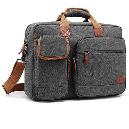 CoolBell 17.3 Inch Laptop Tasche Aktentasche Herren schützend Messenger Bag Umhängetasche Notebook Schultertasche Multifunktional Henkeltasche Laptoptasche für 17-17,3 Zoll MacBook,Canvas Dunkel Grau