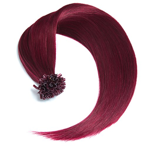 Dunkel Braun Haarfarbe Highlights (Burgunder Keratin Bonding Extensions 100% Remy Echthaar Human Hair - 25 x 0,5g 45cm Glatte Strähnen - Lange Haare Keratin Bondings U-Tip Haarverlängerung Haarverdichtung-burg)