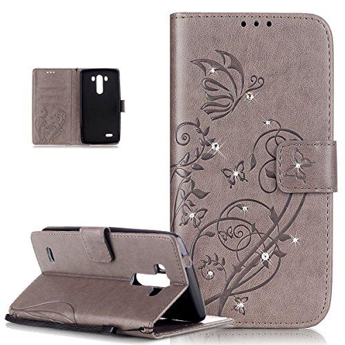 Kompatibel mit LG G3 Hülle,LG G3 Lederhülle,LG G3 Handyhülle,Strass Glänzend Prägung Blumen Reben Schmetterling PU Lederhülle Handyhülle Taschen Flip Wallet Ständer Schutzhülle für LG G3 3G/4G,Grau 3g Strass