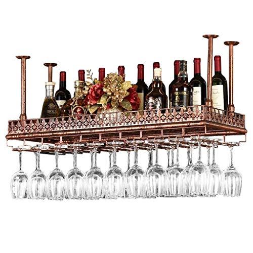 GWFVA Weinregal - Morden Stil Eisen hängen Weinglas Rack Decke Dekoration Regal für Bar, Restaurants, Küche oder Weinkeller Multi-Größe (Farbe: Braun, Größe: 100 * 35 cm)