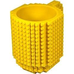 Awesome - Juegos de construcción, diseño taza, compatible con LEGO, color amarillo