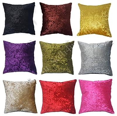 Pair of Large Plain Crush Velvet Cushion Covers 10 Colours - low-cost UK light shop.