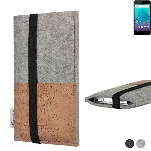 flat.design Handy Hülle Sintra für Allview P7 Lite Handytasche Filz Tasche Schutz Kartenfach Case Kork