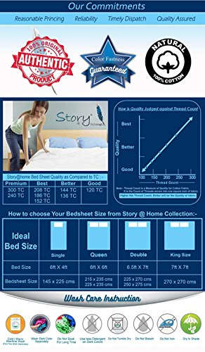 Story@ Home Rectangular 186 TC Cotton Double Bedsheet with 2 Pillow Cover - White