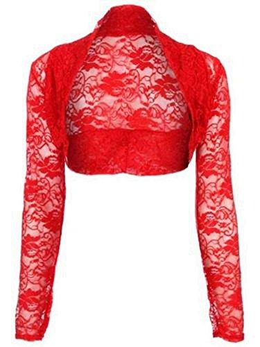 krautwear Damen Bolero Langarm Stola Bolerojacke Hochzeit Festlich Spitze schwarz weiß rot beige blau pink (rot)