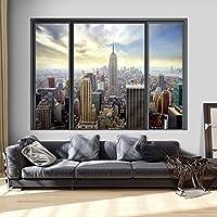 murando 3D ILLUSION D'OPTIQUE 210x150 cm Papier peint intissé tableaux muraux déco vue depuis la fenetre Ville City New York Panorama