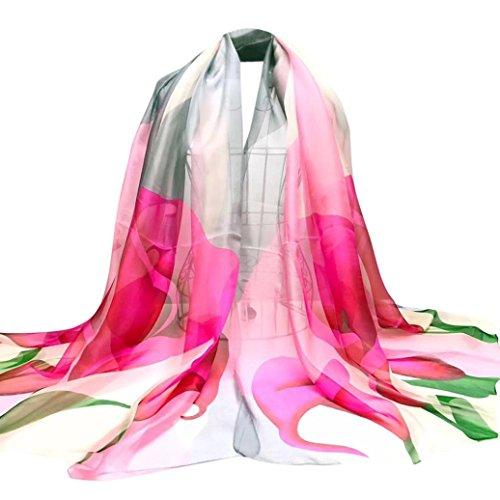 Foulards, AIMEE7 Fleur De Fer à Cheval Long Wrap Femmes Châle En Mousseline De Soie éCharpe Rose
