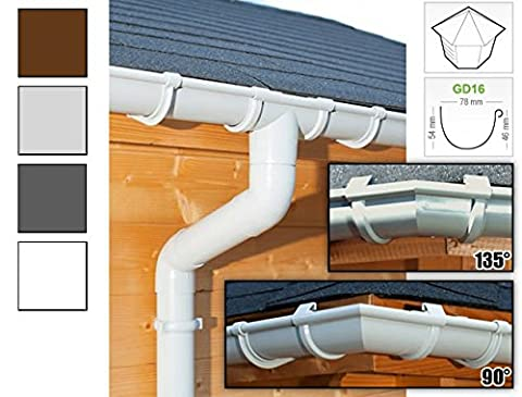 Plastic guttering kit for pentagonal roof (5 roofsides)   GD16   in 4 colours! Ideal for summer house or log cabin! (All-in-one kit max. perimeter 12,25 m,