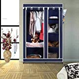 Arsh Portable And Collapsible Wardrobe Metal Frame 6 Racks Closet, Aw06, Blue With