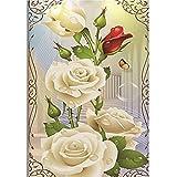 5D Diamant Painting Full,Stickerei Gemälde Strass Kunst Süße Familie. Weiße Rose DIY Diamand Malerei Kreuzstich Schlafzimmer Wohnzimmer Office Dekoration (30x40cm) (30 x 40 cm, Weiß)