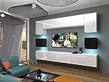 Neuheit Next 1 Wohnwand weiß schwarz hochglanz wohnzimmer möbel beleuchtung anbauwand TV-Schrank Wandschränke moderne Mediamöbel (Weiß + Schwarz MAT base / Weiß + Schwarz HG front AN/N/01_2017/WB/HG/4, Wohnwand + RGB LED)