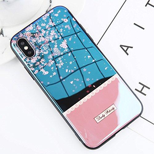 POHONOEO Blu ray Starry Sky Print Telefon Fall für iPhone 6 6s plus nette Lächeln Blume weiche TPU Abdeckung zurück Fall für iPhone X 8 7 Plus, Kirschblüten, für iPhone X -