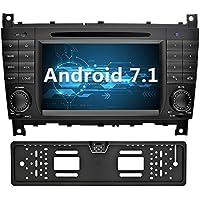 YINUO 7 Pulgadas 2 Din Android 7.1.1 Nougat 2GB RAM Quad Core Reproductor de DVD GPS Navegador Radio de Coche con Bluetooth Para Mercedes-Benz C-Class W203/Benz CLK W209 (Con Cámara Trasera 4)