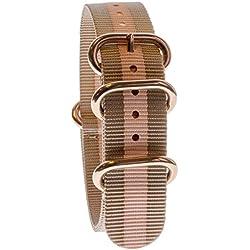 Yves Camani Unisson 20 mm Uhren-Armband Nylon Nato-Band Beige/Rosegold Neu AB_207