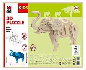 Marabu 0317000000024 Kids - Puzzle de Madera (27 Piezas), diseño de Elefante 16 x 13 cm, Color marrón