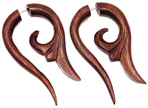 Falso Dilatador Pendientes Piercing madera par marrón hombre mujer mi