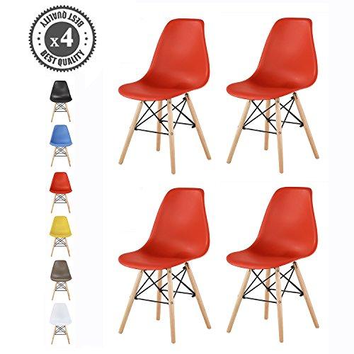 MCC Retro Design Stühle LIA im 4er Set, Eiffelturm inspirierter Style für Küche, Büro, Lounge, Konferenzzimmer etc, 6 Farben, Kult (rot)
