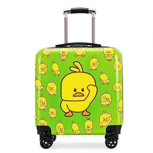Preisvergleich Produktbild LJSHU Kinder-Suitcase Kreative kleine gelbe Entenmuster Mute 360 ° Universal Wheel Waterproof Wear-Resistant Trolley Case, Green, 20inch