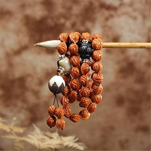 MLJSX Armband Natürliche Deep-Grain Xiaoqiuzi Wild Nussbaum Strang Armband Bodhi Lotus Anhänger Hand Rosenkranz 54 Perlen -