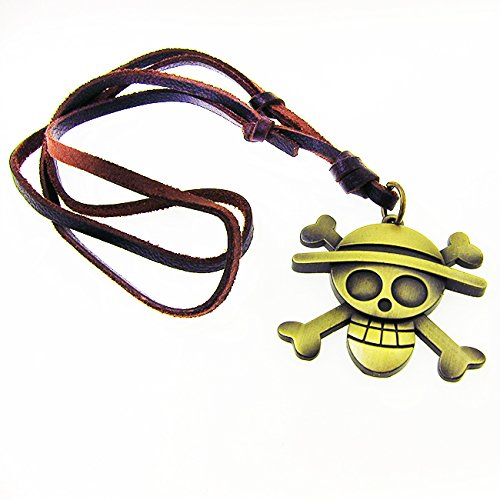 DP DESIGN® COLLANA ONE PIECE LUFFY PIRATI PELLE MARRONE CIONDOLO PENDENTE BRONZO UB09