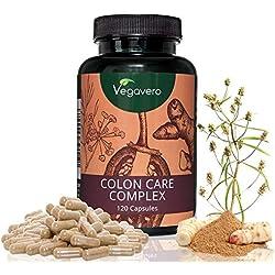 Colon Care Complex Vegavero | FLOHSAMENSCHALEN - FENCHEL – CAYENNE PFEFFER – INGWER – GALGANT | VEGAN und OHNE Zusatzstoffe - Laborgeprüft | Hochwertige Extrakte | 120 Kapseln
