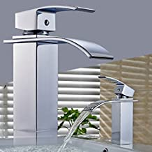 Auralum miscelatori rubinetti bagno lavello cromata cascata rubinetti con rubinetto in ottone corpo e cartuccia ceramica (acqua calda e fredda alternativa) (Tipo A)