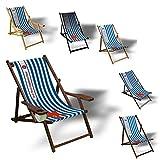 Printalio Wunschtext - Maritim - Liegestuhl Bedruckt Balkon Garten Sonnenliege Relax Holz Terrasse | mit Armlehne, Dunkelbraun
