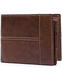 38efd6f43c Haxibkena Portafoglio Trifold da Uomo, Portafoglio Sottile per la Tasca  Frontale con Finestra di identificazione e Porta Carte…