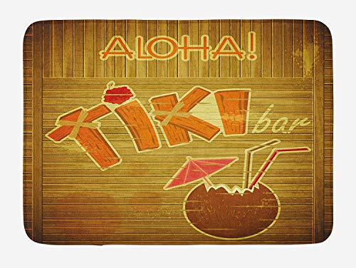 Icndpshorts Tiki Bar Bath Mat, Wooden Planks on Wall with Styled Tiki Bar Text Cocktail Hibiscus Aloha, Plush Bathroom Decor Mat with Non Slip Backing, 23.6 x 15.7 Inches, Brown Orange Pink