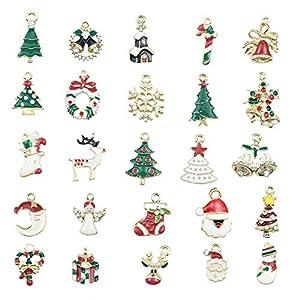 Basisago Weihnachten Schlüsselbund Anhänger Hängende Ornamente DIY Material Kits, Tropföl Weihnachten Legierung Anhänger Geschenk, Geeignet Für DIY Schmuck, Wie Ohrringe, Armbänder Oder Dekorationen