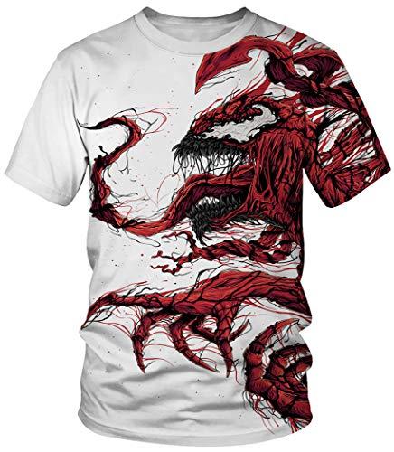 Ocean Plus Unisex Rundhals Sportswear T-Shirt Kostüm mit Aufdruck Fasching Größen S-3XL Tops mit Kurzarm (3XL (Referenzhöhe: 180-185 cm), Weißes Schlachten)