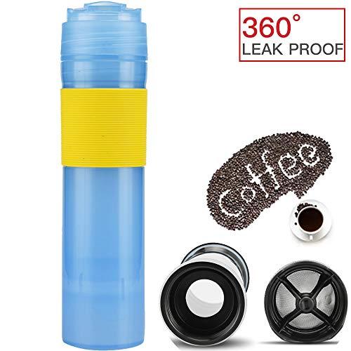 ALLOMN Kaffee Pressenbecher, 350 ml Tragbare Französisch Drücken Sie Kaffeetasse Tasse Tee Kaffeemaschine Kaffee, der Flasche Spielraum Kaffeetasse, 360 Grad Auslaufsicher Drückt (Blau) - 200 Grad Kaffeemaschine