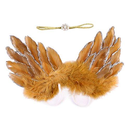 ngelsflügel mit Stirnband Neugeborene Fotografie Prop Outfit (Gold) (Baby Angel Baby Kostüme)