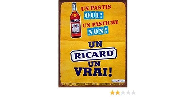 Bi/ère Ricard 30 x 20 cm Maison Easy Painter Autocollant Mural Vintage en /étain pour d/écoration de Maison Bureau Affiches dart Garage m/étal