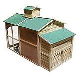 Weißes Hühnerhaus Freilauf Holz Cottage-Style Hühnerstall Käfig Auslauf - 2
