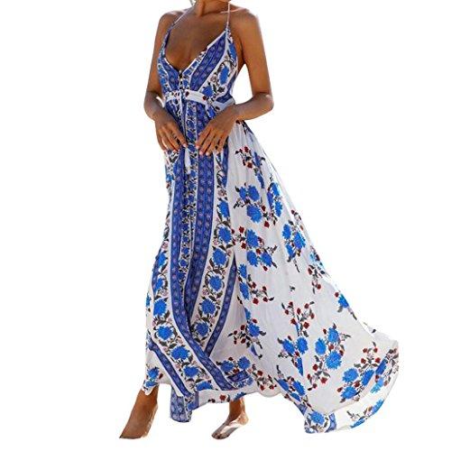 Damen Kleider,LMMVP Frauen reizvolles Halter Backless V-Ansatz Blumen gedrucktes Maxi Kleid (S, Blue) (Silk Kleid Tank)