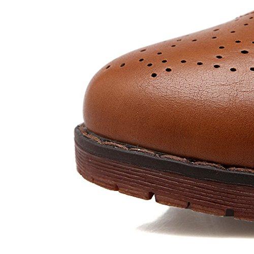 VogueZone009 Damen Weiches Material Schnüren Rund Zehe Niedriger AbsatzPumps Schuhe Braun