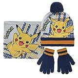 Pokemon 2200-2544 Set 3 Pezzi, Coordinati Invernali, Cappello, Scaldacollo Multiuso, Guanti, Bambino, Multicolore, Pikachu