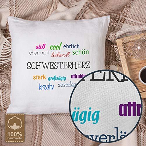 Kopfkissen mit dem Namen Schwesterherz, Kissen mit Füllung – Positive Eigenschaften, 40 cm, 100% Baumwolle, Kuschelkissen, Liebeskissen, Namenskissen, Geschenkidee - 2