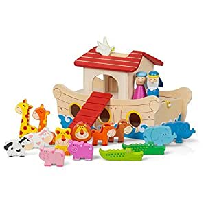 Wooden Noah's Ark (19 Piece) 28 cm Long Wooden Toy Farm/Zoo Animals