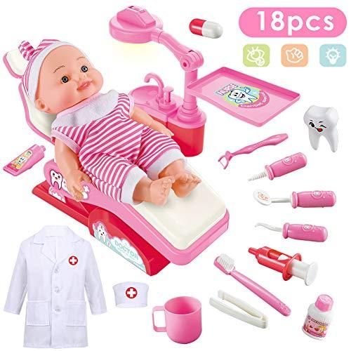 Patient Arzt Und Kostüm - Buyger Arzt Spielzeug Doktor Kostüme Dentist Medizinisches Rollenspiel Geschenk für Kinder Mädchen (Rosa)