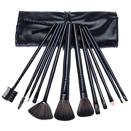 brosses de maquillage 12 pcs / paire fondation à lèvres puissance eyeliner fard à paupières professionnel brosses cosmétiques noir