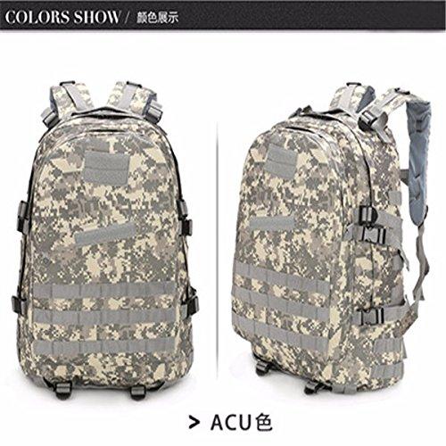 Oxford Pack Outdoor Bergsteigen bag Schulter Taschen für Männer und Frauen wandern Taschen Camouflage Rucksack 46 * 33 * 18 cm, tri-Sand Farbe ACU Farbe