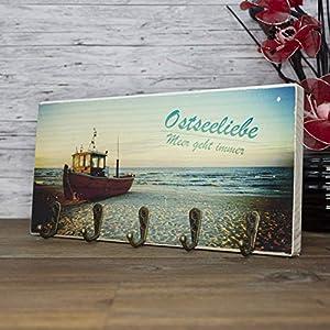 elbPLANKE mit Haken – Ostseeliebe | 12×24 cm | Schlüsselbrett von Fotoart-Hamburg | mit 5 Antike Haken aus Holz (Kiefer/Fichte) – 100% Handmade