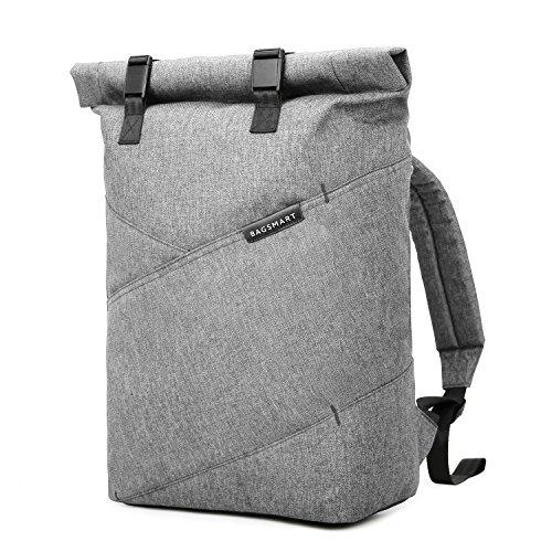 BAGSMART Herren Rucksack Laptop bis zu 15,6 Zoll, Modern Roll Top Daypack, Wasserabweisend und Hochwertig Backpack für Alltag, Reise, Schu...