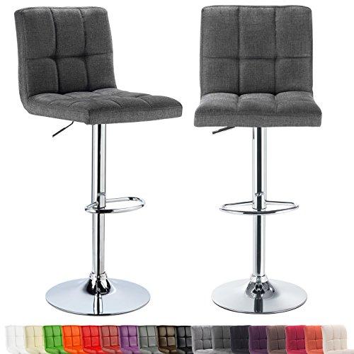 WOLTU® 2er-Set Barhocker Barstuhl Bar Hocker Barstühle mit Rückenlehne höhenverstellbar Leinen dunkelgrau BH32dgr-2-c