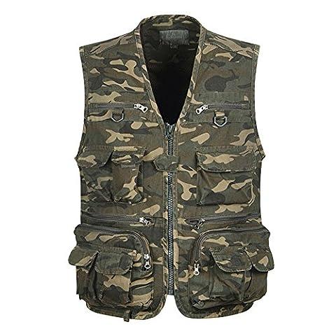 Feicuan Homme Camouflage Quick Dry Utility poches Cargo Veste gilet de pêche